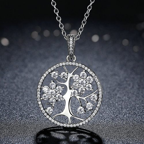 Family Tree Necklace Silver With CZ