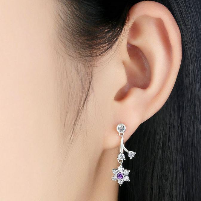 f22c75250 Silver Forget Me Not, Purple & Clear CZ Women Drop Earrings S925