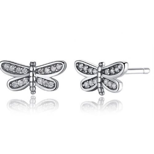 dragonfly silver earrings pandora style