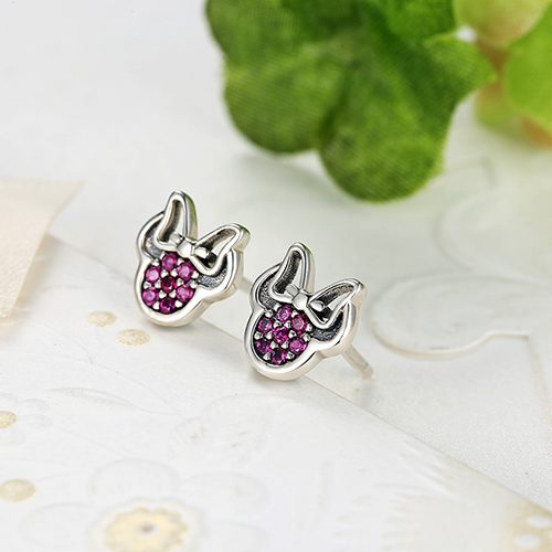 DISNEY MINNIE SILVER STUD EARRINGS WITH RED CUBIC ZIRCONIA No.290580CZR