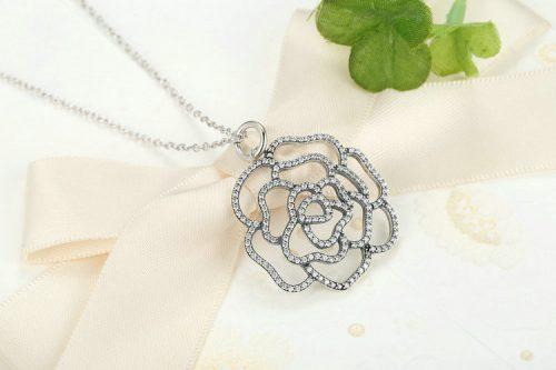 PANDORA Shimmering Rose Pendant Necklace 390368CZ