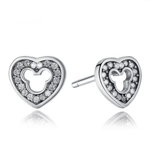 Disney heart silver stud earrings with cubic zirconia and cut-out Mickey silhouette