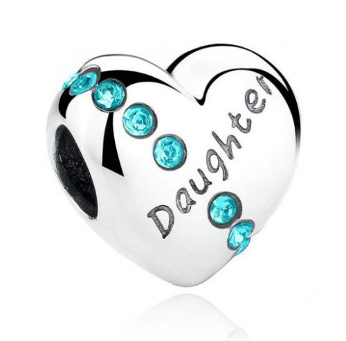 Silver Daughters Love Heart Charm With Blue CZ