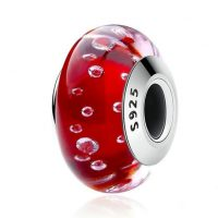 Red Effervescence, Clear CZ Murano Glass