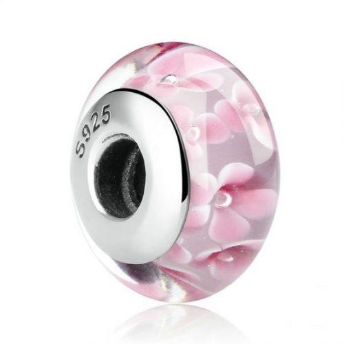 pink flower murano glass bead