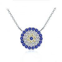blue eye silver necklace