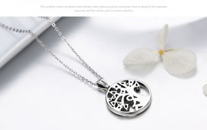 Tree of Life Necklace With Green CZ