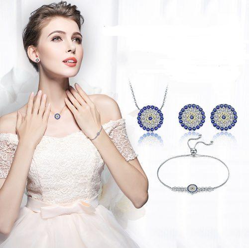 Blue Eye Silver Necklace