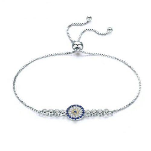 Sterling Silver Lucky Round Blue Eyes Power Tennis Bracelet Pave CZ Adjustable Link Chain Bracelets Jewelry