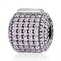 Pave Barrel Silver Clip Charm With Pink Cz's