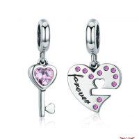 omantic 925 Sterling Silver Lock Key of Heart Pink CZ Charm Pendant fit Charm Bracelet Jewelry Girlfriend