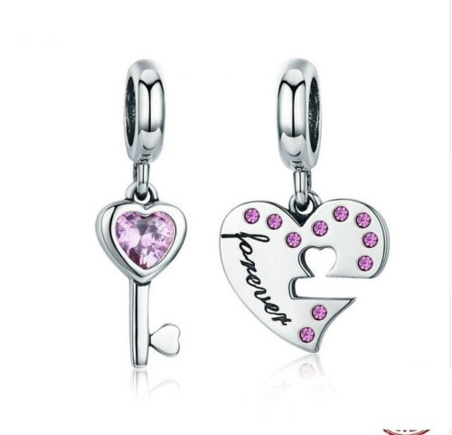 omantic 925 Sterling Silver Lock Key of Heart Pink CZ Charm Pendant fit Charm Bracelet Jewelry Girlfriend