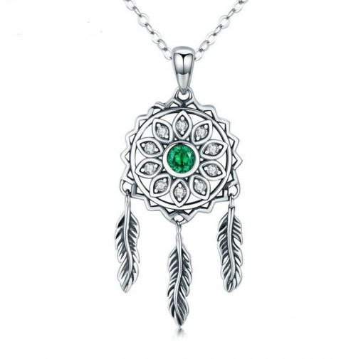 dream catcher silver neckalce